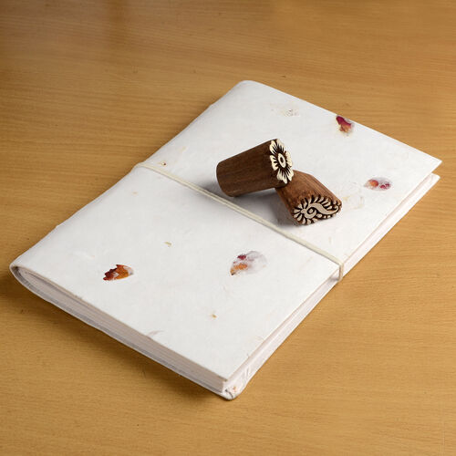 Hand Made - Set of Rose Petals Embedded Paper Diary (26X18 Cm) and 2 Wooden Handblocks.
