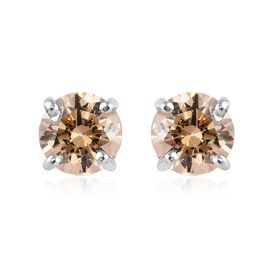 J Francis - Platinum Overlay Sterling Silver (Rnd) Stud Earrings (with Push Back) Made with Yellow S