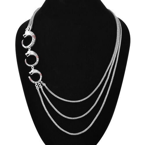 Royal Bali Collection - Mozambique Garnet Three Strand Panther Necklace (Size 27) in Sterling Silver 2.19 Ct, Silver wt 87.20 Gms