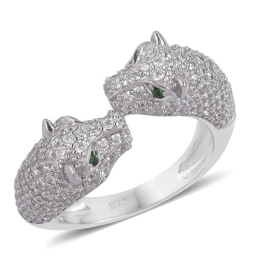 Designer Inspired - ELANZA Simulated Emerald and Simulated White Diamond Leopard Ring in Rhodium Plated Sterling Silver