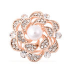 Simulated Pearl and White Austrian Crystal Floral Scarf Brooch in Rose Gold Tone