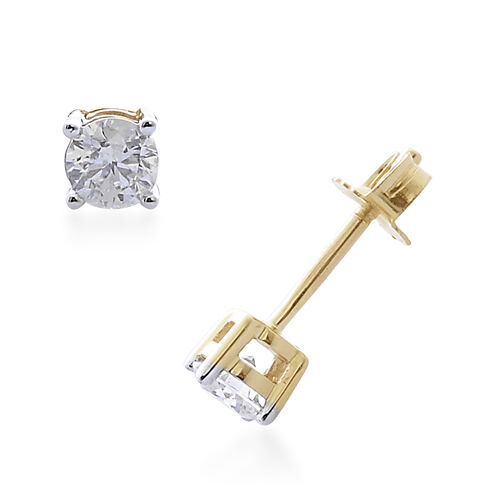 9K Yellow Gold SGL Certified (I3/G-H) Diamond (Rnd) Earrings (with Push Back) 0.300 Ct.
