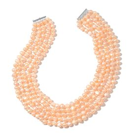 Fresh Water Peach Pearl Multi Strand Necklace (Size 18) in Rhodium Plated Sterling Silver