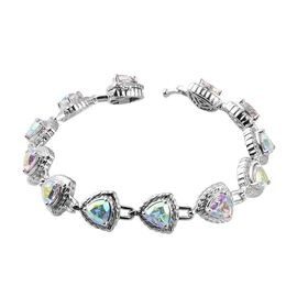 Mercury Mystic Topaz Bracelet (Size 7) in Platinum Overlay Sterling Silver 11.00 Ct, Silver wt. 17.2