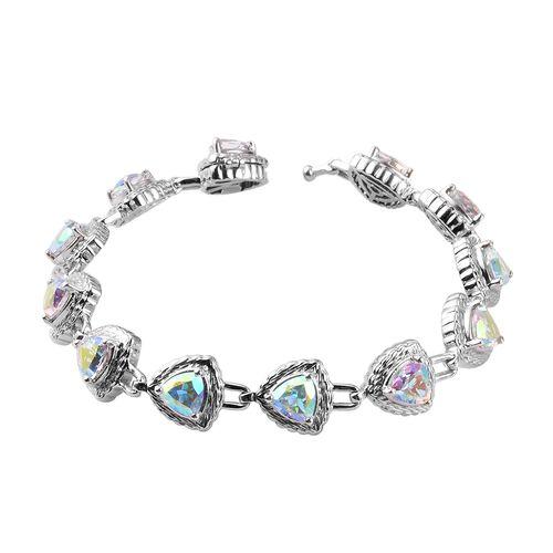 Mercury Mystic Topaz Bracelet (Size 7) in Platinum Overlay Sterling Silver 11.00 Ct, Silver wt. 17.2