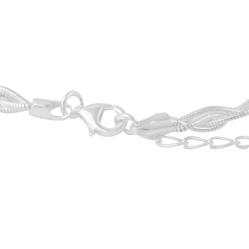 Italian Made Sterling Silver Omega Braided Necklace (Size 18 with 2 inch Extender), Silver wt 13.23 Gms