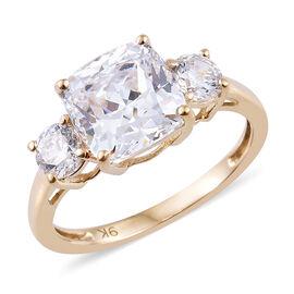 J Francis Made with Swarovski Zirconia 3 Stone Ring in 9K Gold 1.58 Grams