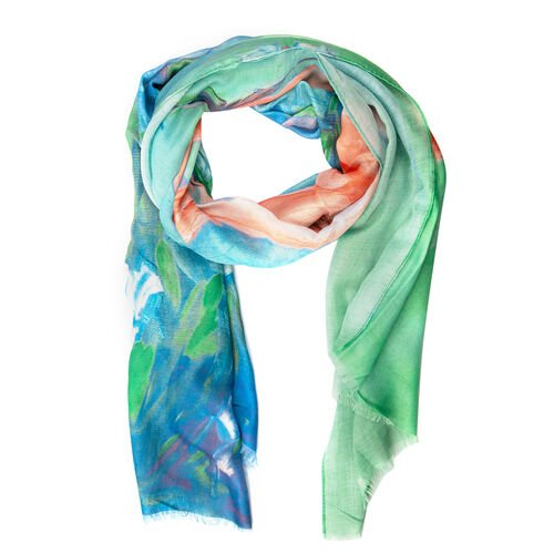 Designer Inspired- Blue, Green and Multi Colour Lily Flower Pattern Scarf (Size 170x75 Cm)