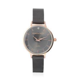 DIAMOND & CO LONDON- Diamond Studded Watch with Mesh Style Strap - Gun Tone