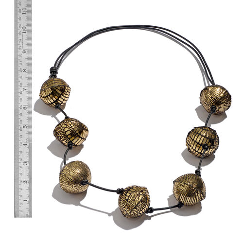 Sparkle Golden Colour Adjustable Leather Bead Necklace (Size 28 to 40)