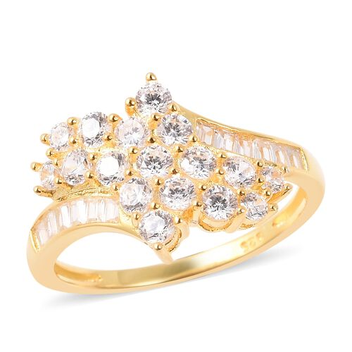 ELANZA Simulated Diamond and Bypass Cluster Ring in Yellow Gold Plated Sterling Silver