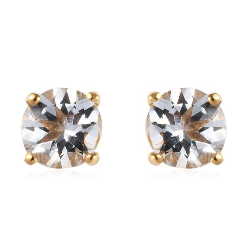 Espirito Santo Aquamarine Stud Earrings (with Push Back) in 14K Gold Overlay Sterling Silver