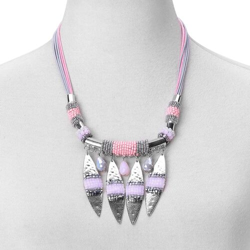 Simulated Rose Quartz and Multi Colour Beads Necklace (Size 21 with 2 inch Extender) in Silver Tone