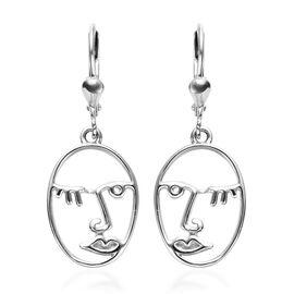 Platinum Overlay Sterling Silver Lever Back Face Earrings