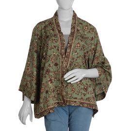 Green Floral Pattern Shrug (One Size Fits All)