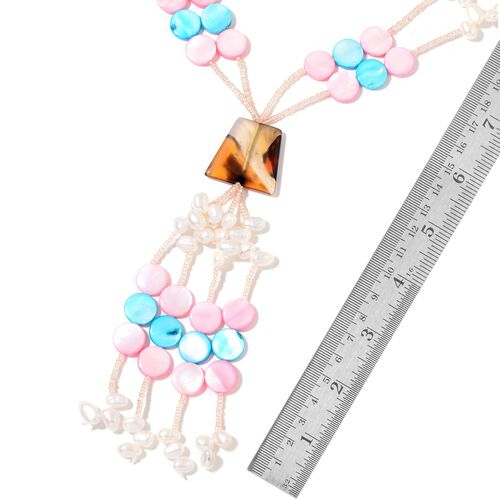 Fresh Water White Pearl, Pink and Blue Shell Seed Beads Necklace (Size 32) in Silver Tone