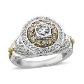 1.01 Ct Diamond Double Halo Ring in 14K Yellow and White Gold 6.50 Grams I1 I2 GH