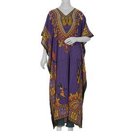 Tribal Printed Kaftan (Size 81.28x121.92 Cm) - Purple Colour