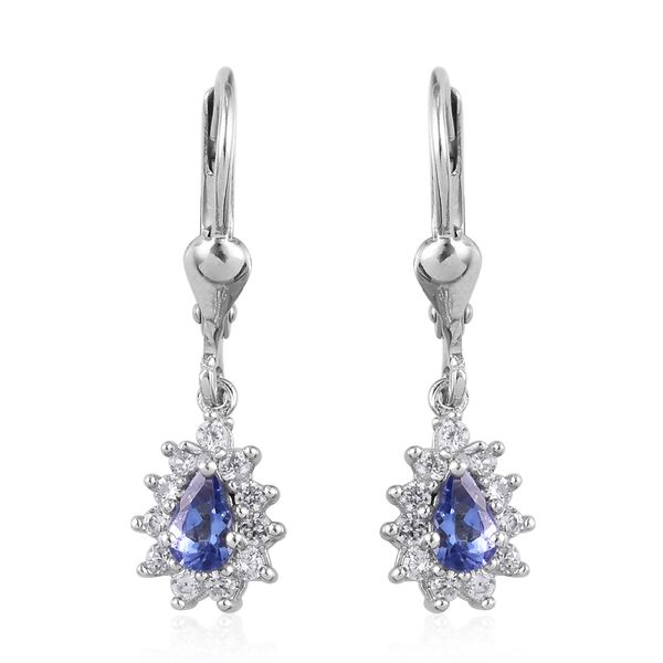 AAA Tanzanite and Natural Cambodian Zircon Drop Earrings (with Push Back) in Platinum Overlay Sterli