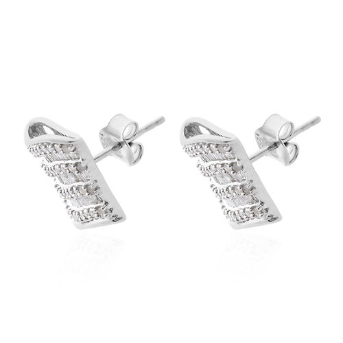 Diamond (Rnd and Bgt) Earrings (with Push Back) in Platinum Overlay Sterling Silver 1.010 Ct, Number of Diamonds 178.