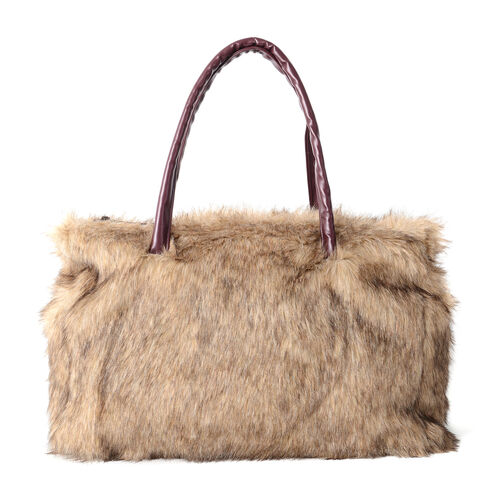 Luxurious Super Soft Faux Fur Large Tote Handbag with Cotton Twill Lining (Size 40x30x15 cm) Brown a