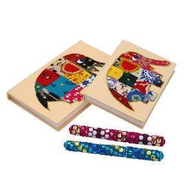 4 Piece Set - Two Elephant Design Handmade Paper Diary (100 Pages) and Two Beaded Pen - Ivory, Blue