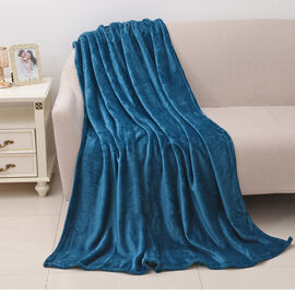 100% Microfiber Flannel Blanket with Self-Fabric Border (Size 200x150 Cm) - Blue