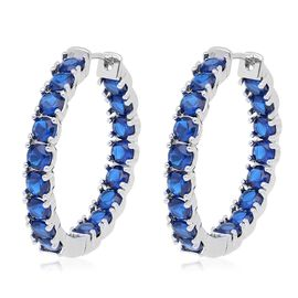 Simulated Sapphire (Rnd) Inside Out Hoop Earrings (with Clasp Lock)  in Silver Plated
