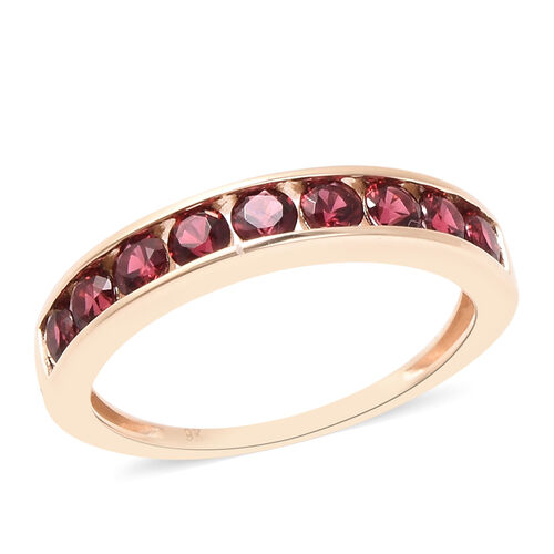 1 Carat AAA Red Spinel Half Eternity Band Ring in 9K Yellow Gold