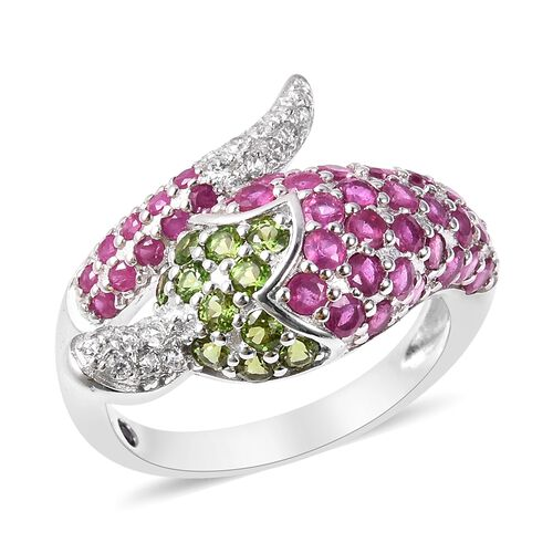 GP 4.15 Ct African Ruby and Multi Gemstone Chilli Pepper Design Ring in Rhodium Plated Silver
