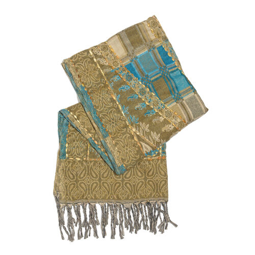 Close Out Deal - Hand Embroidered Adda Work from India - Brown, Blue and Multi Colour Floral Pattern Scarf with Tassels (Size 200X67 Cm)