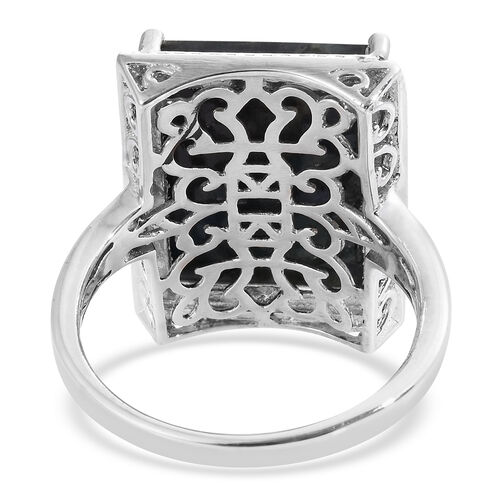 Natural Spectrolite (Bgt) Solitaire Ring in Platinum Overlay Sterling Silver 7.000 Ct. Silver wt 5.66 Gms.