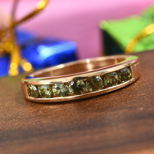 ILIANA 18K Yellow Gold AAA Russian Demantoid Garnet (Rnd) Half Eternity Band Ring 1.00 Ct.