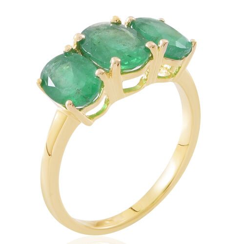 Limited Edition- 9K Yellow Gold AAA Kagem Zambian Emerald (Ovl 1.05 Ct) 3 Stone Ring 2.650 Ct.