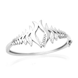 Lucy Q Flame Collection - Rhodium Overlay Sterling Silver Bangle (Size 7.5), Silver Wt. 36.70 Gms