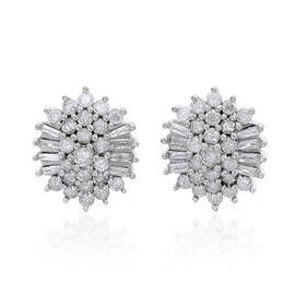 1 Carat SGL Certified Diamond Cluster Stud Earrings in 9K White Gold