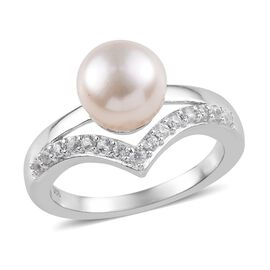 Fresh Water Pearl (1.40 Ct),Cambodian Zircon Platinum Overlay Sterling Silver Ring  1.750  Ct.