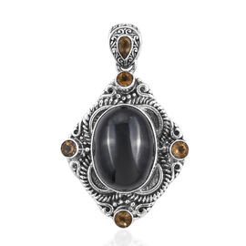 Black Star Diopside (Ovl 20x15 mm), Citrine Pendant in Sterling Silver 24.37 Ct, Silver wt 11.10 Gms