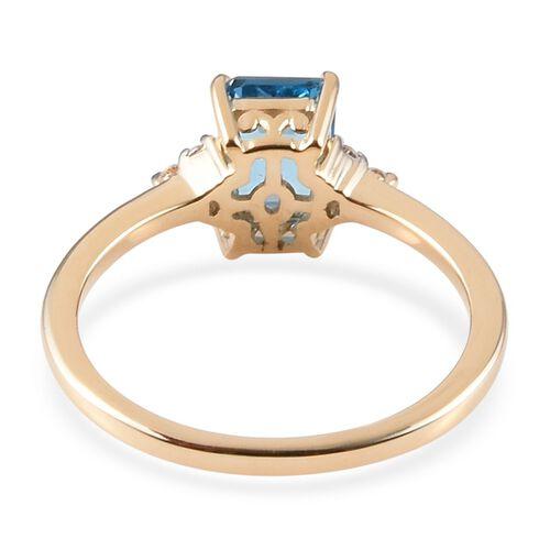 9K Yellow Gold AA Swiss Blue Topaz (Oct 7x5mm), Natural Cambodian Zircon Ring 1.30 Ct.
