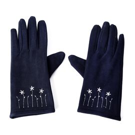 Solid Colour Women Winter Gloves with Star Embroidery on the Wrist (Size 8.9x22.9 Cm) - Navy