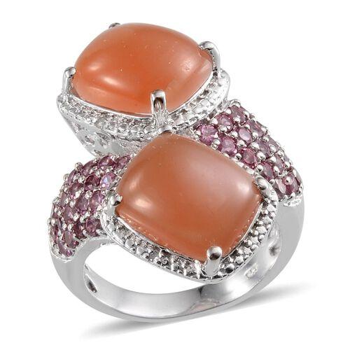 Mitiyagoda Peach Moonstone (Cush), Rhodolite Garnet and Diamond Ring in Platinum Overlay Sterling Silver 11.520 Ct.