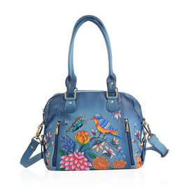 SUKRITI, Meaning Beautiful Creation -  100% Genuine Leather Blue and Multi Colour Hand Painted Kingfisher Shoulder Convertible Sling Bag (Size 30x28x11 Cm)
