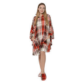Check Pattern Flannel Hooded Wrap - Red, White and Multi Colour