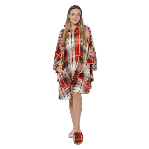 2 Piece Set - Check Pattern Flannel Hooded Wrap (Free Size, L: 90cm) and Slipper (Size 42) - Red, Wh