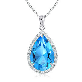 New York Close Out - Sky Blue Topaz (Pear), Simulated Diamond Pendant with Chain (Size 18) in Rhodiu