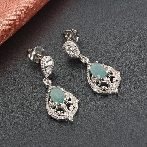Grandidierite and Natural Cambodian Zircon Dangling Earrings (with Push Back) in Platinum Overlay Sterling Silver 1.38 ct.
