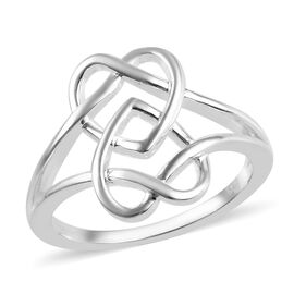 Twin Heart Interlocked Ring in Sterling Silver