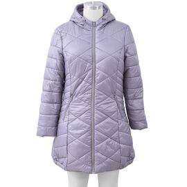 Solid Colour Women Long Puffer Coat with Two Zipper Pockets in Silver Grey