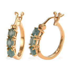 Grandidierite (Ovl) Hoop Earrings (with Clasp) in 14K Gold Overlay Sterling Silver 1.00 Ct.