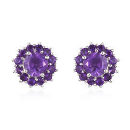 Amethyst Floral Cluster Stud Earrings (with Push Back) in Platinum Overlay Sterling Silver 1.58 Ct.